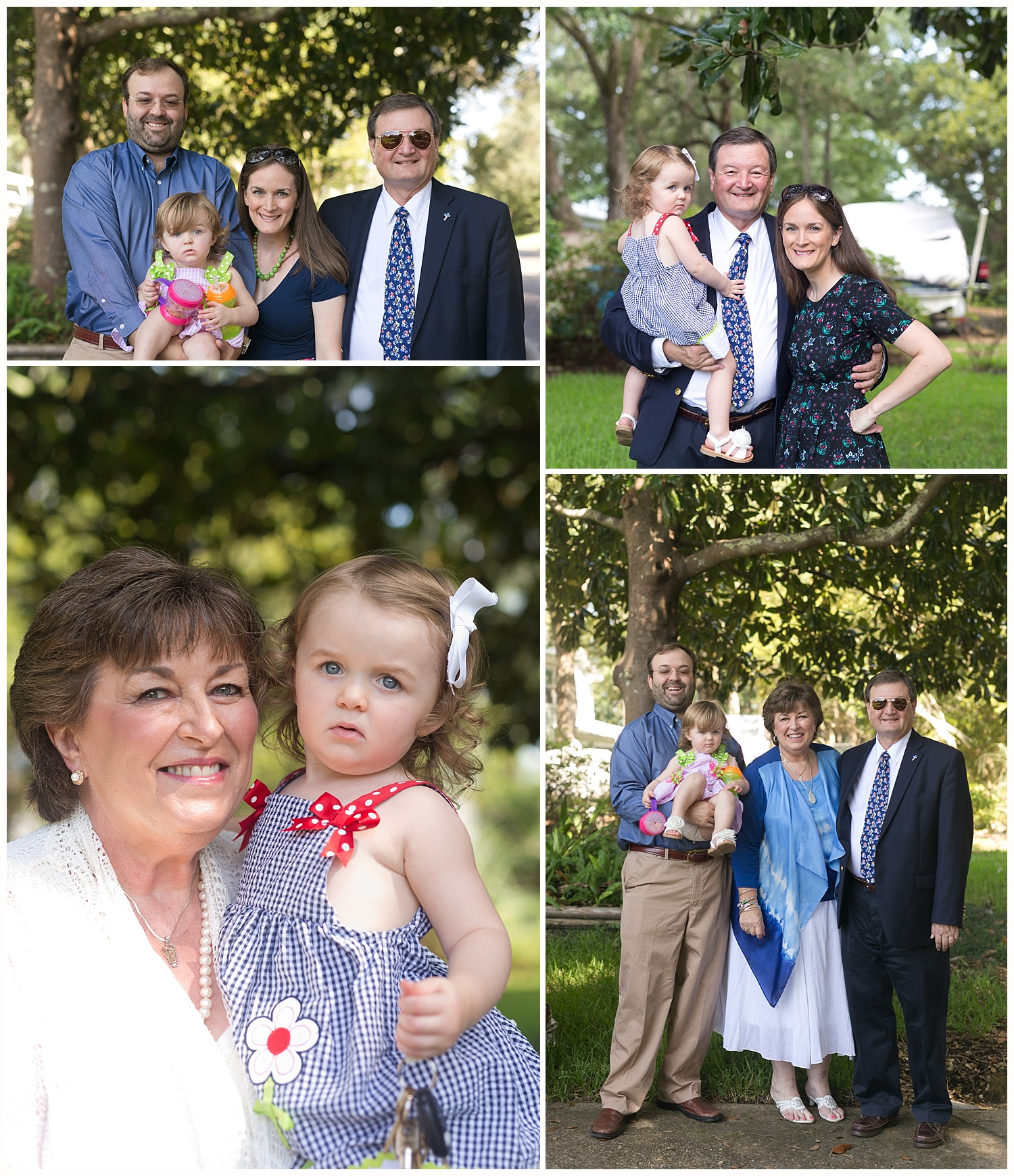 toddler girl with parents and grandparents in Sunday best
