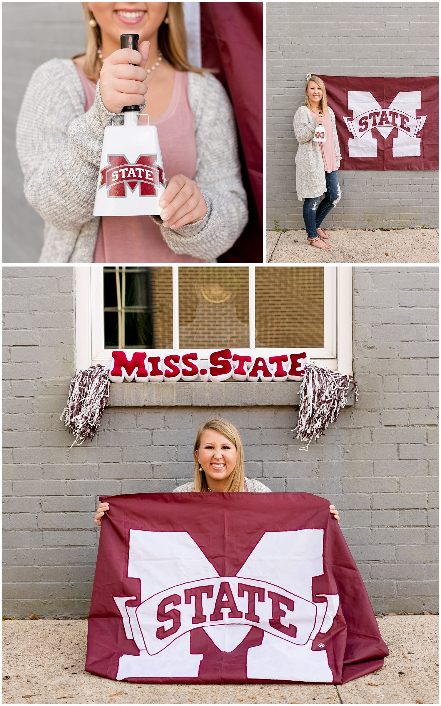 senior portrait with Mississippi State cowbell and flag in Ocean Springs