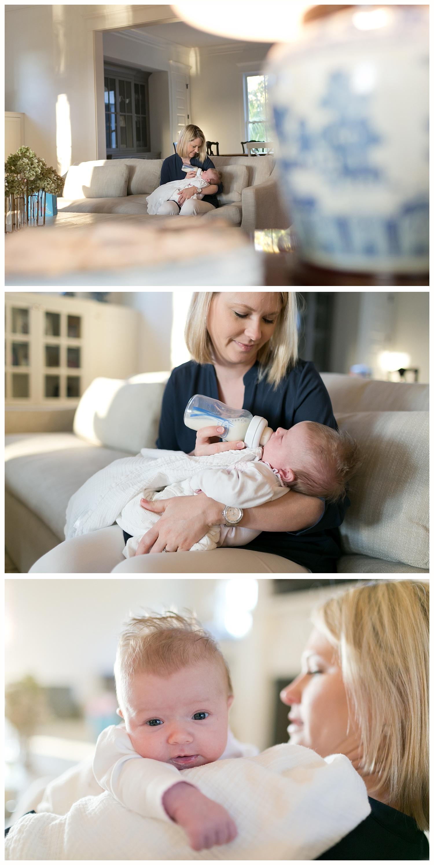 mom bottle-feeding baby girl at home