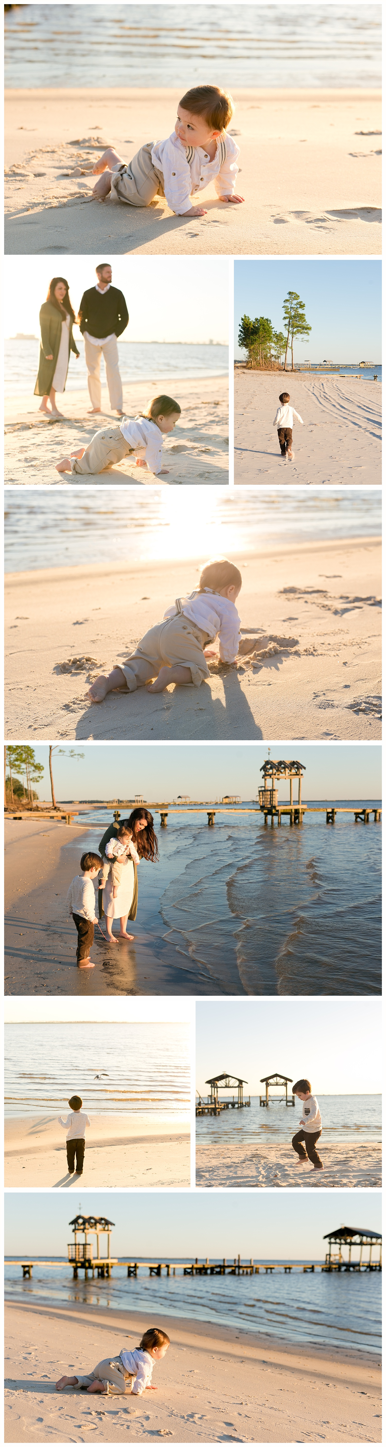 candid family photos on East Beach in Ocean Springs, Mississippi