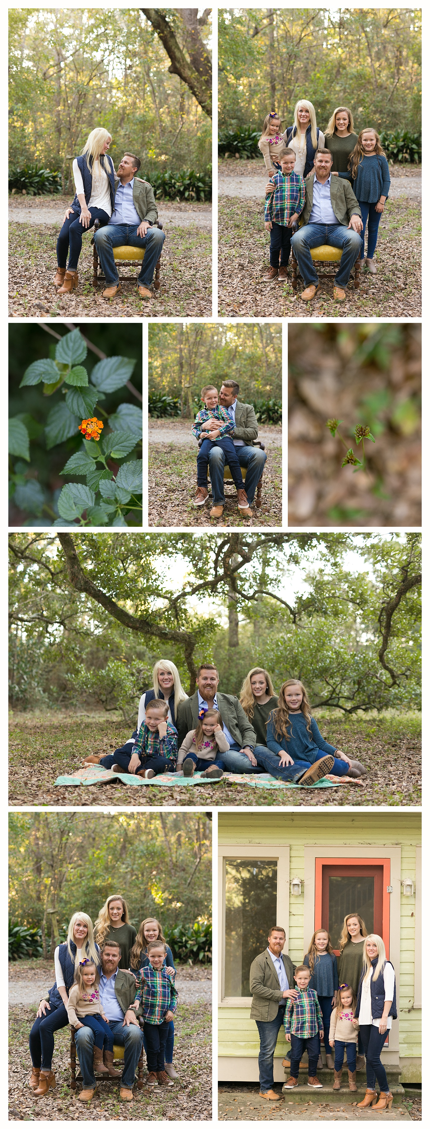 Family Photographer in Ocean Springs, Mississippi (family portraits in the woods with vintage chair)