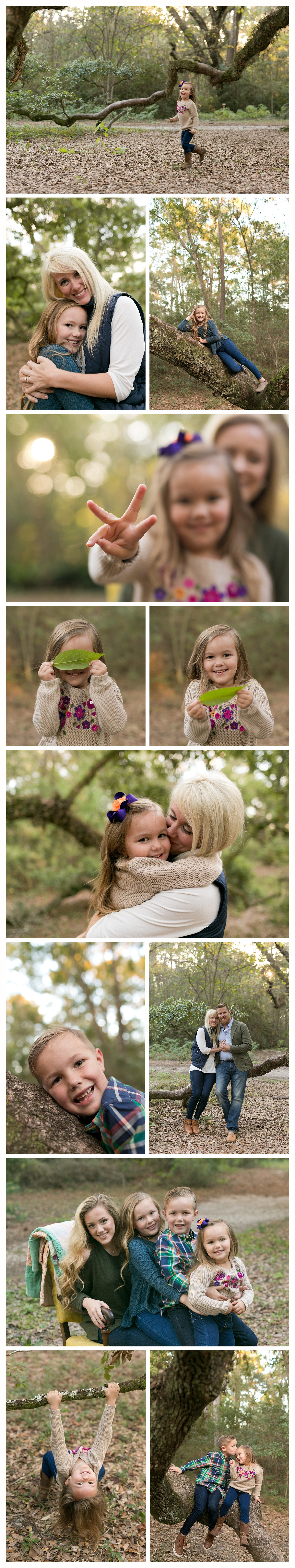 fun candid family photos in nature - Ocean Springs, Mississippi
