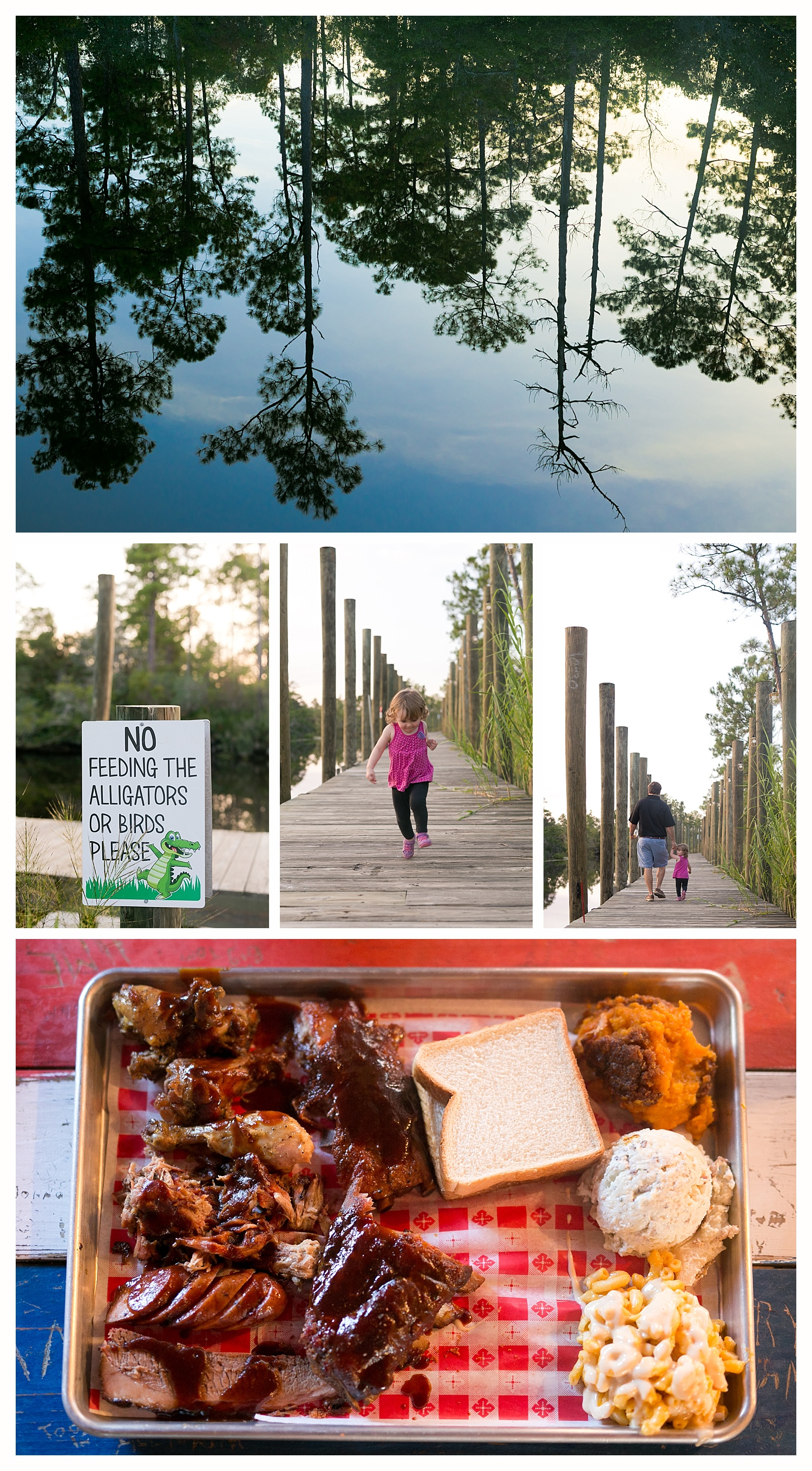 The Shed sampler platter and outdoor scenery with bayou and pier