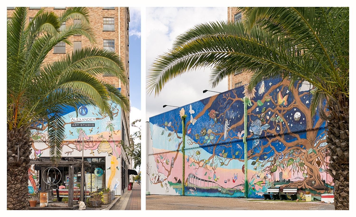 mural and palm tree in downtown Lake Charles, Louisiana
