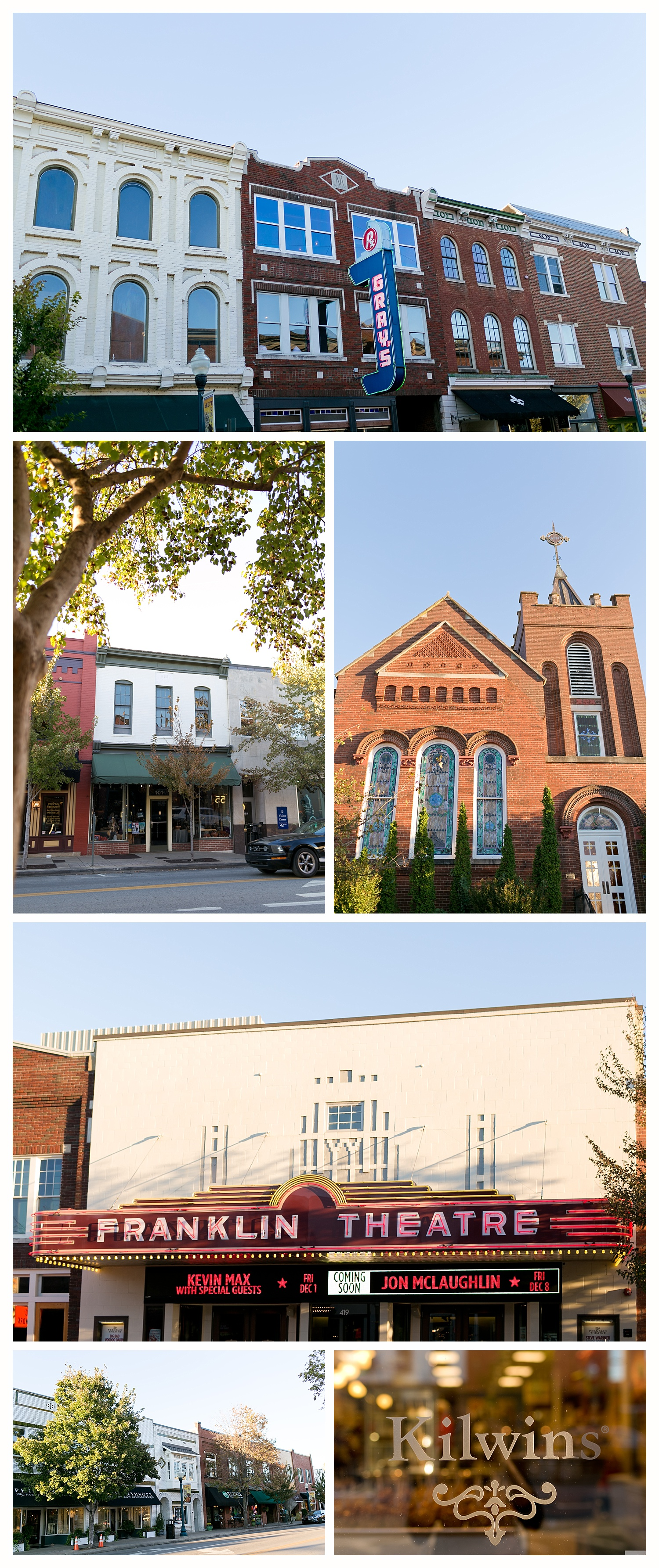 storefronts in downtown Franklin, Tennessee