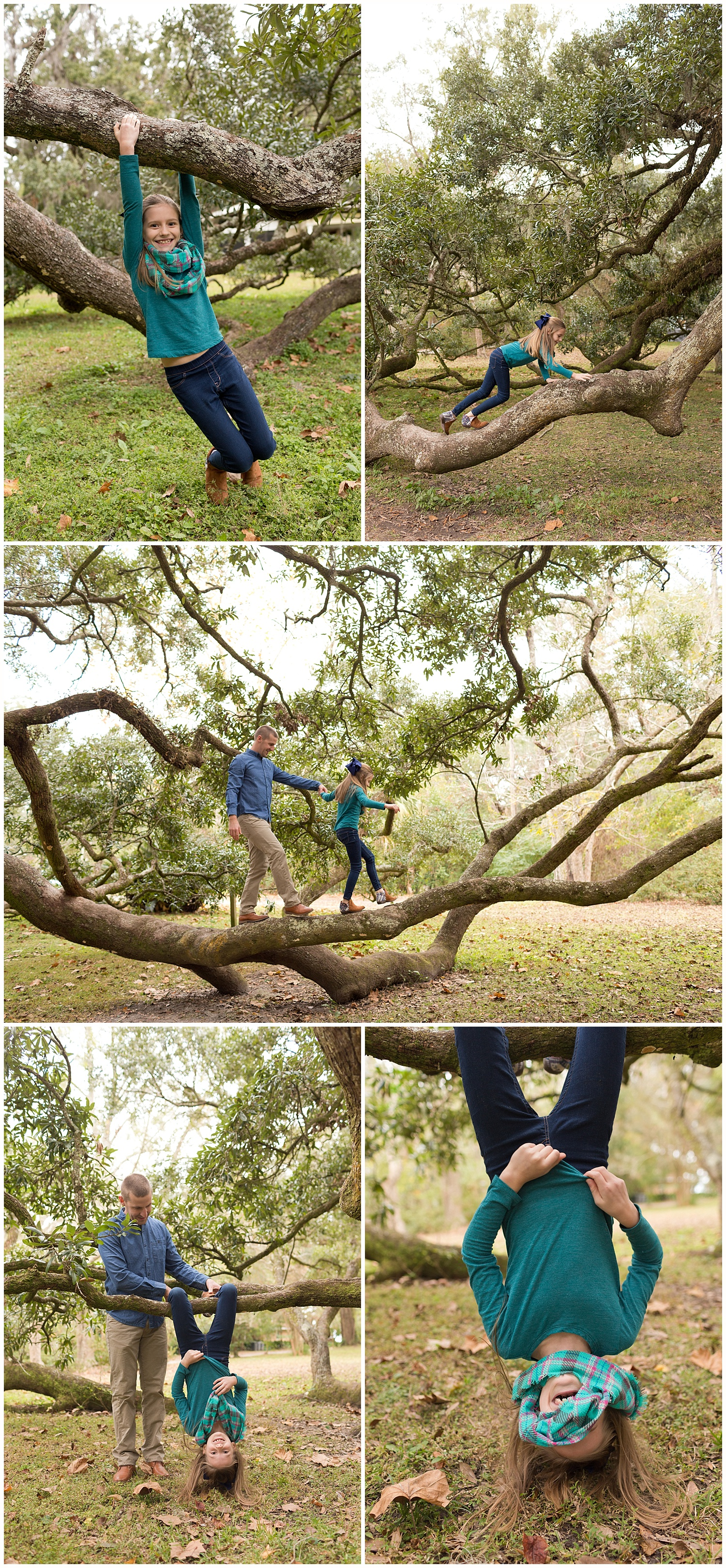 fun outdoor lifestyle family photos in Ocean Springs - little girl climbing tree with dad