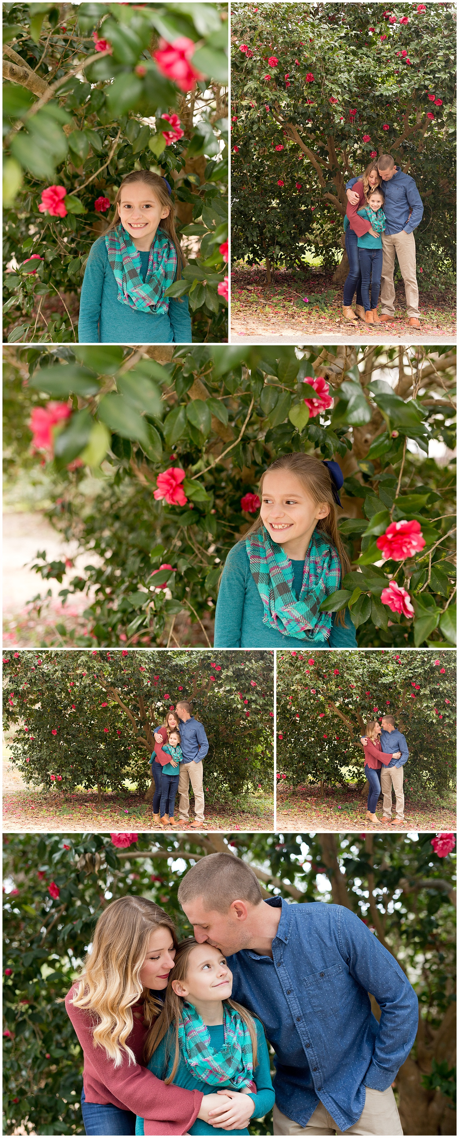 family photos with camellia bush in Ocean Springs, Mississippi