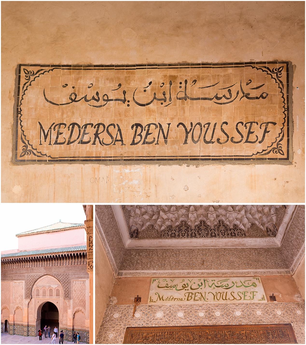 Medersa Ben Youssef sign in Marrakech, Morocco