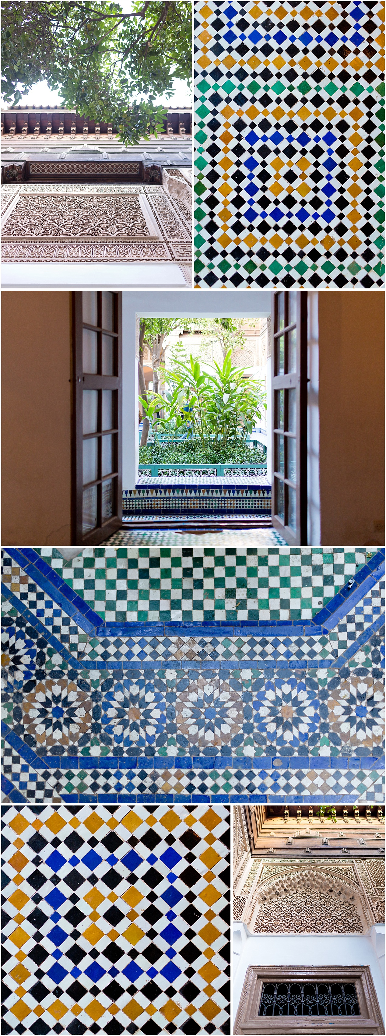 mosaic tile and stucco work in Marrakech, Morocco (Bahia Palace)