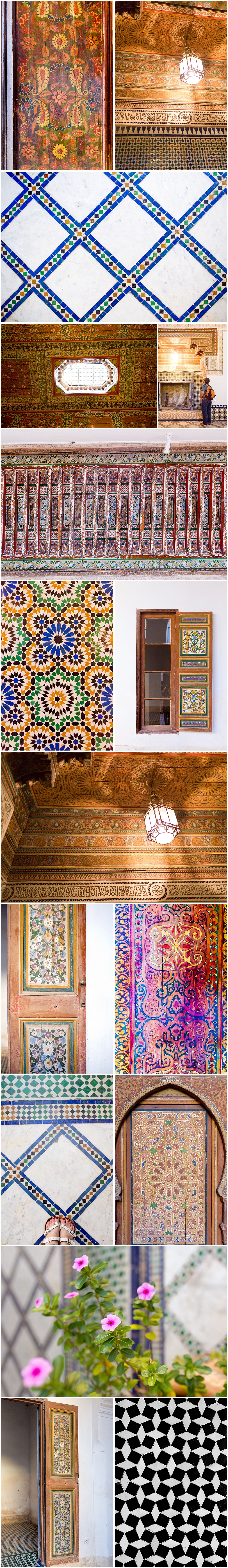 colorful tile and wood paintings at Bahia Palace in Morocco