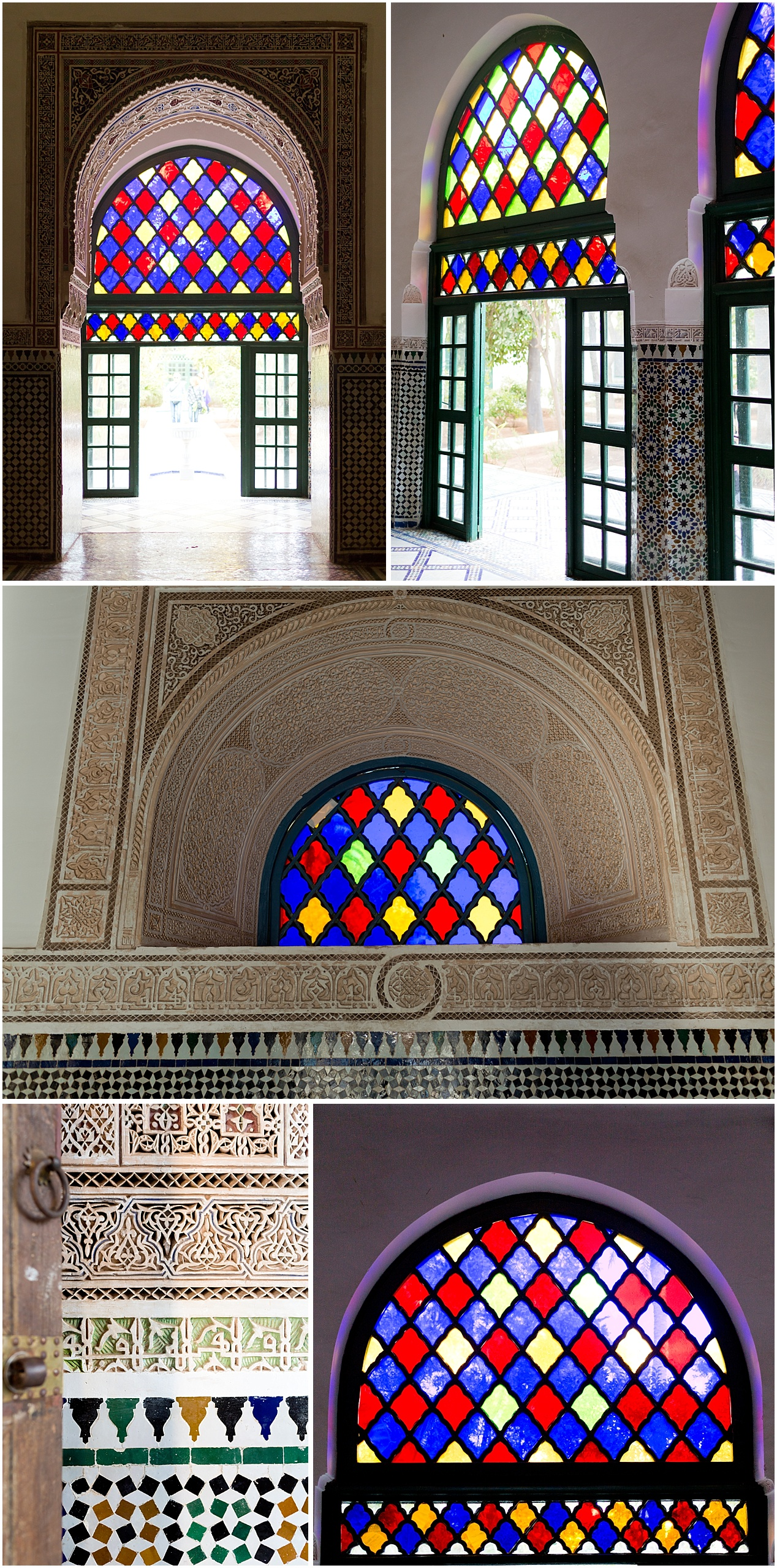 gorgeous stained glass at Bahia Palace in Marrakech, Morocco