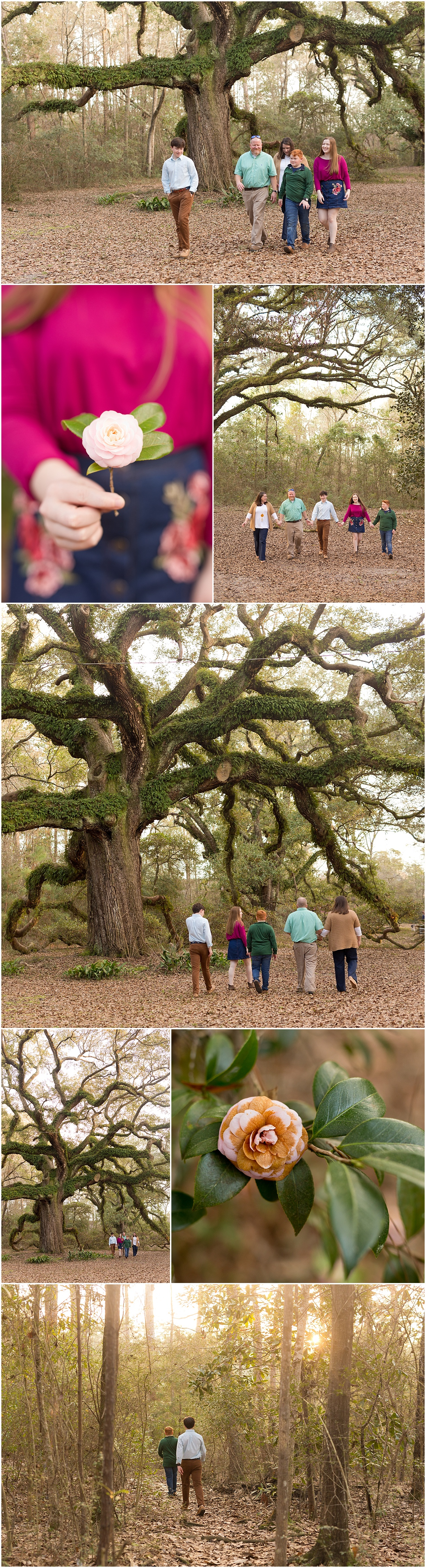 candid family photos walking in woods in Ocean Springs, Mississippi