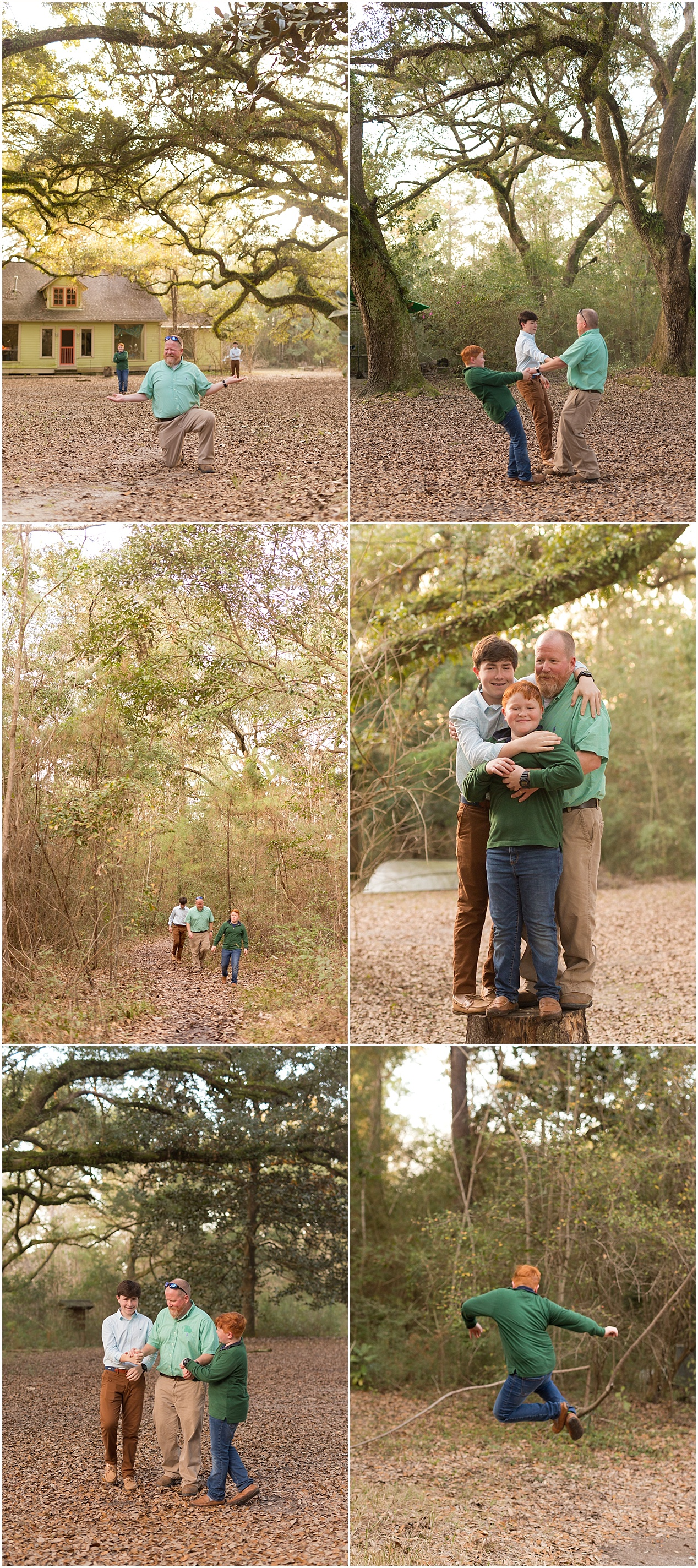 father and two sons being silly in the woods - Mississippi Gulf Coast family portraits