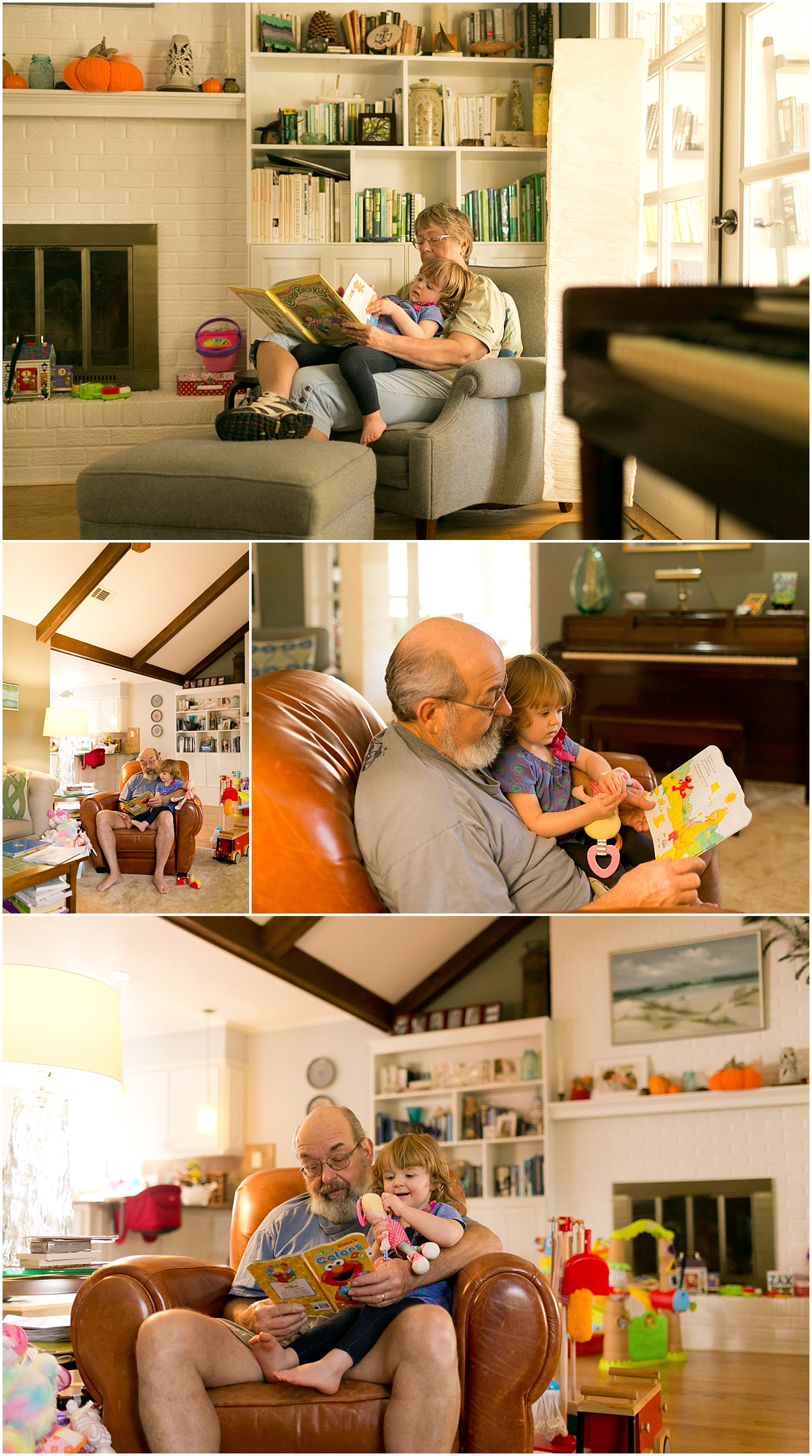grandparents reading books to granddaughter, age 2