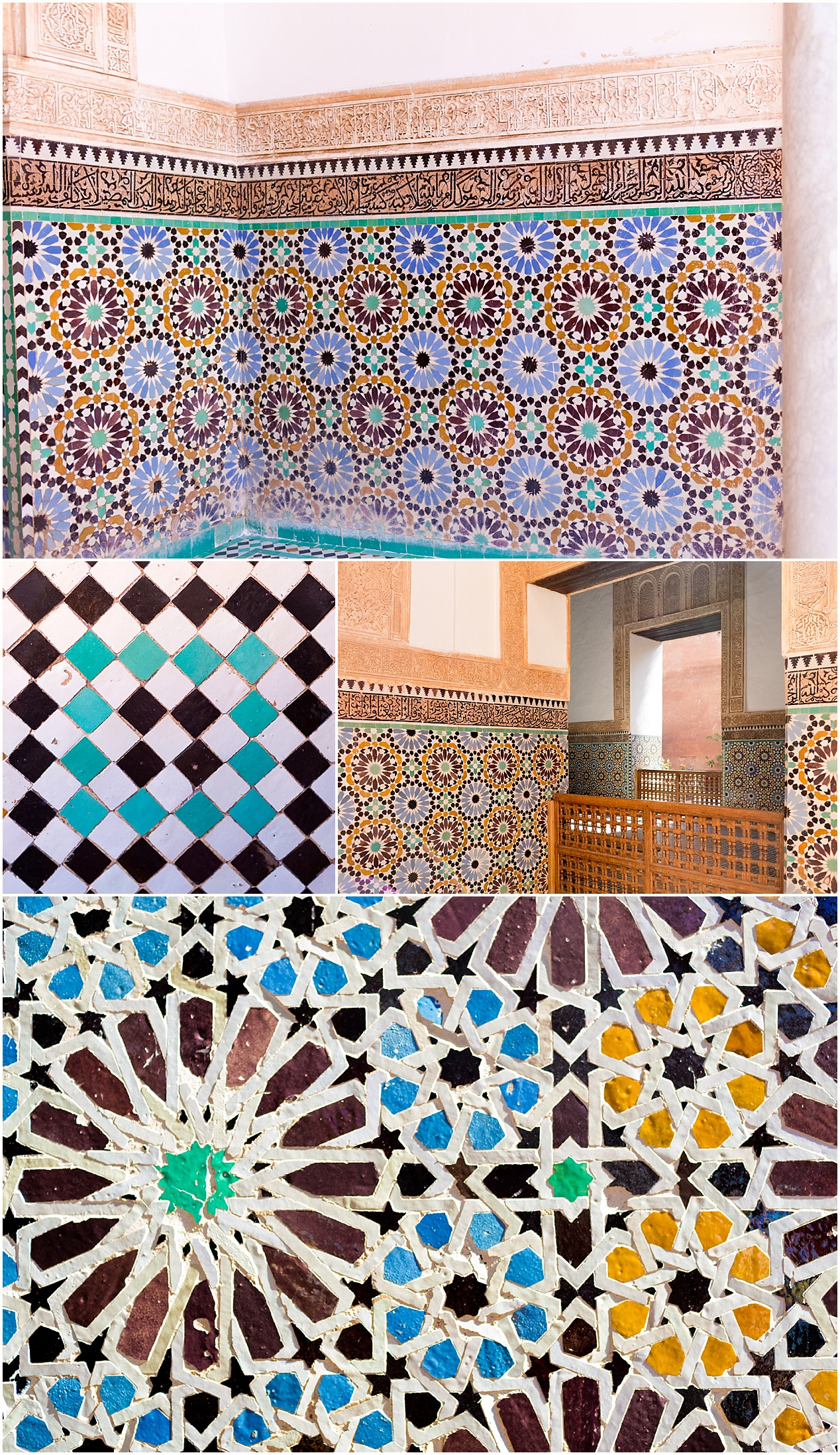 colorful mosaic tiles at Saadian tombs of Marrakech, Morocco