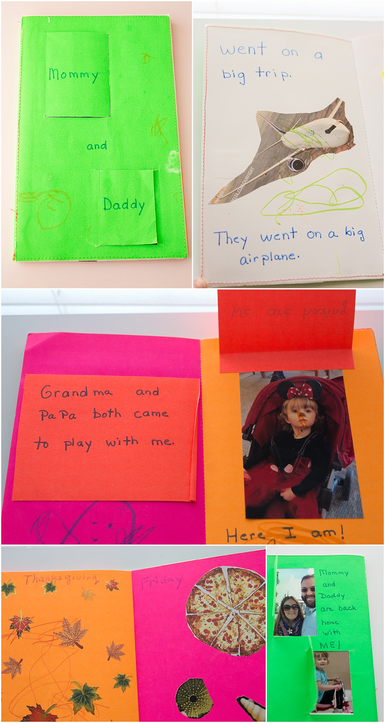 Homemade book for toddler whose parents are taking a vacation