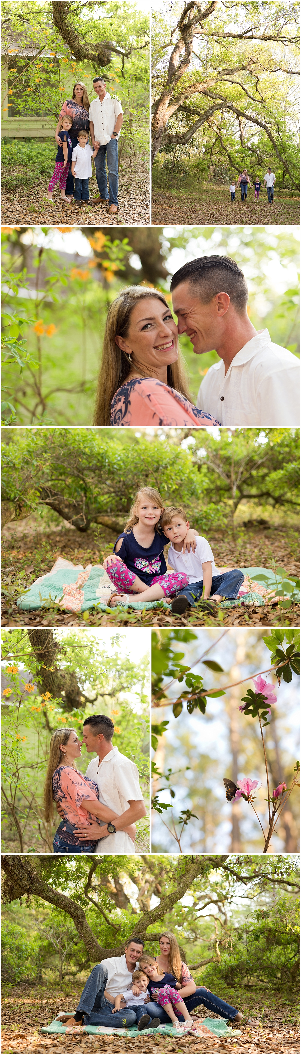 family portraits in the woods in Ocean Springs, Mississippi