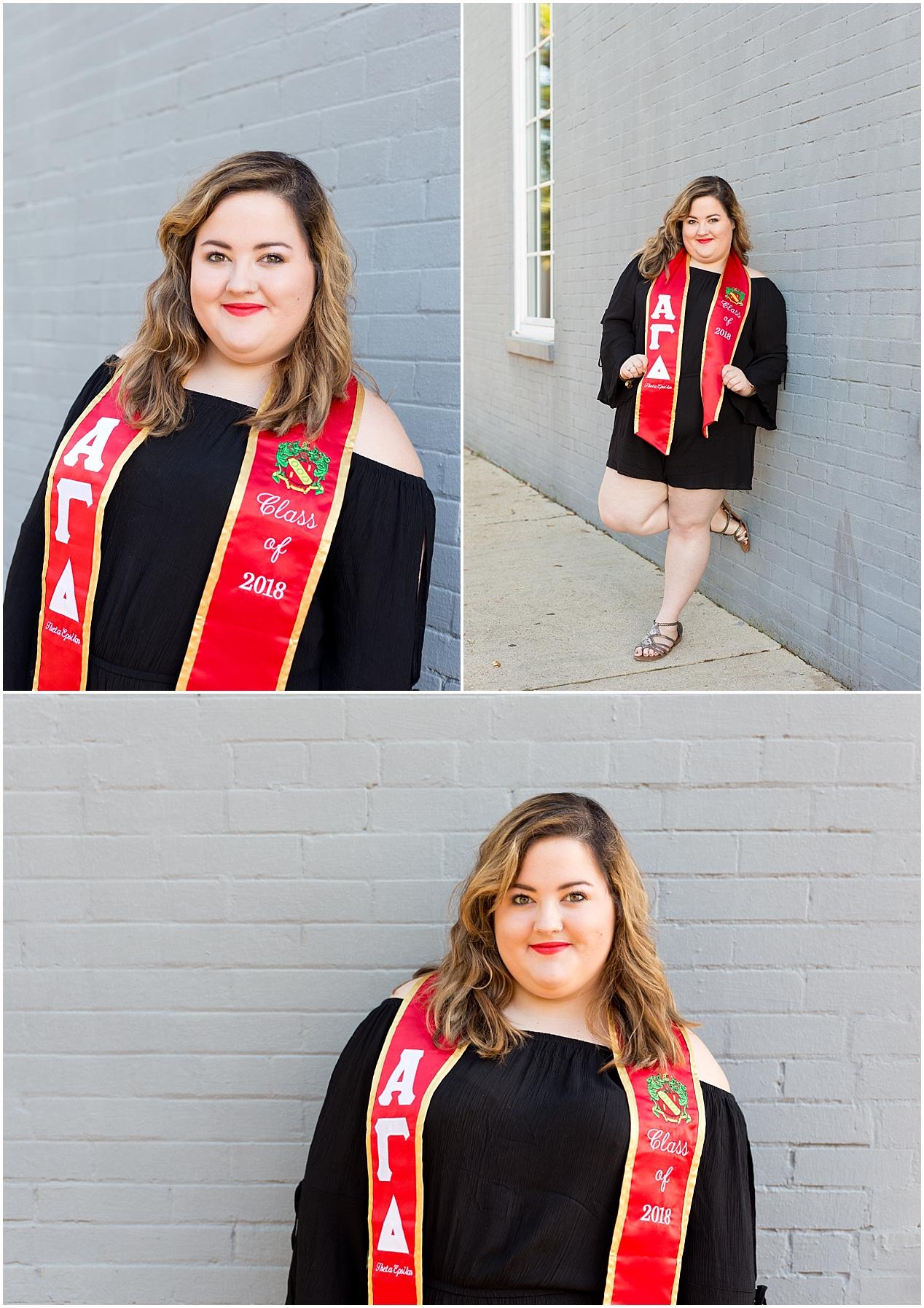 College Graduation Portrait with stole - University of South Alabama Alpha Gamma Delta sorority
