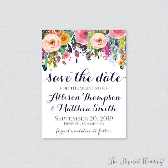 Floral Save the Date - wedding inspiration by Ocean Springs wedding photographer