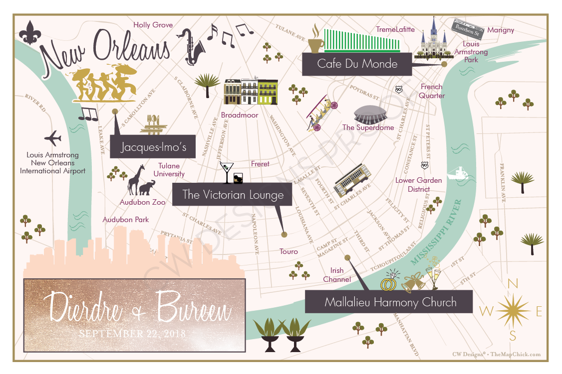 New Orleans wedding map save the date - New Orleans wedding photographer