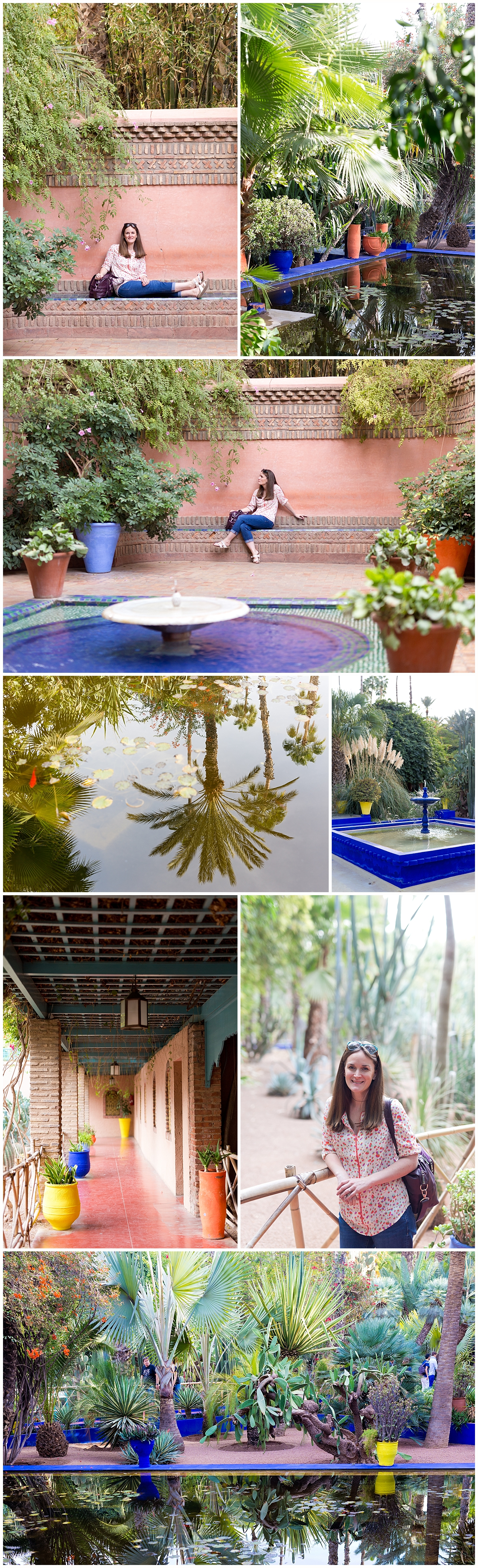 fountains, reflecting pond at Jardin Majorelle, Morocco travel blog