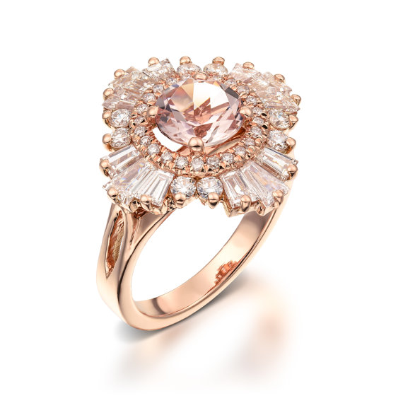 rose gold morganite ring on Etsy - Ocean Springs wedding ideas