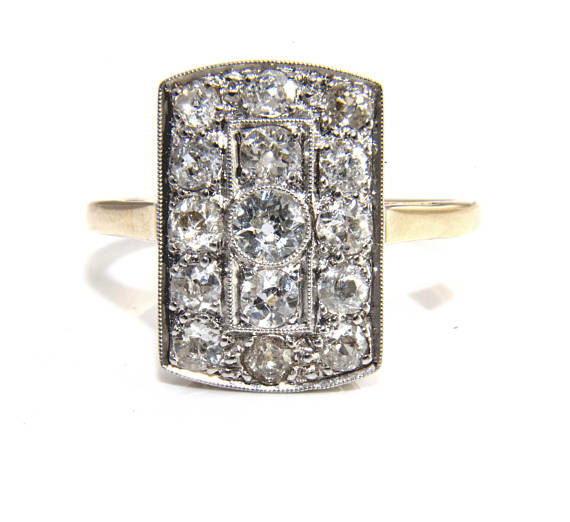 diamond cluster plaque ring