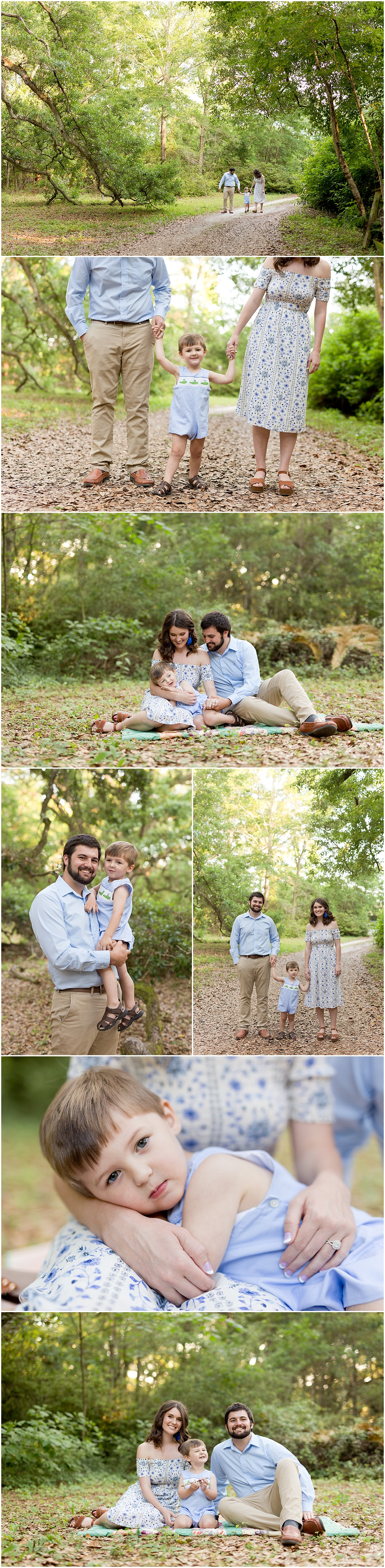 family pictures in Ocean Springs, Mississippi - parents with toddler boy in the woods
