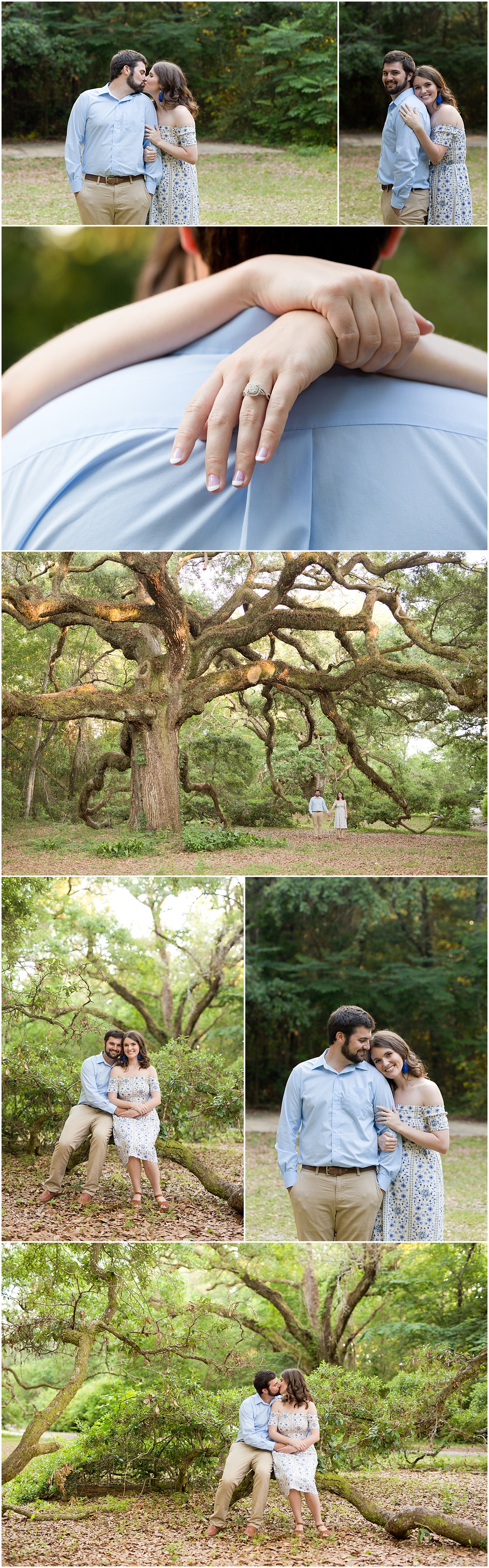Ocean Springs wedding photographer - engagement photos with live oak trees
