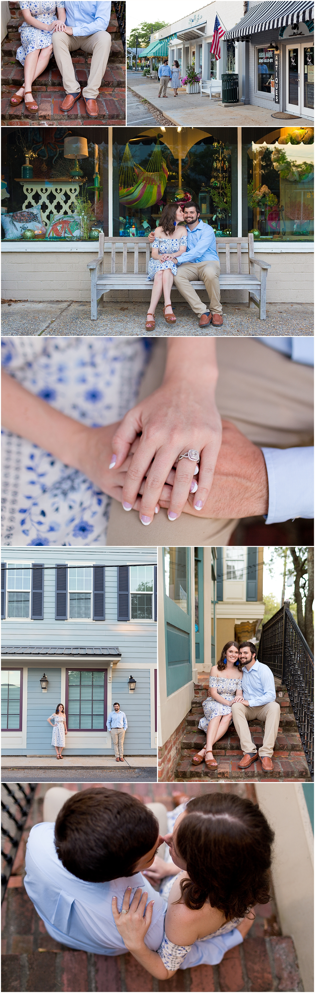downtown Ocean Springs, MS engagement pictures