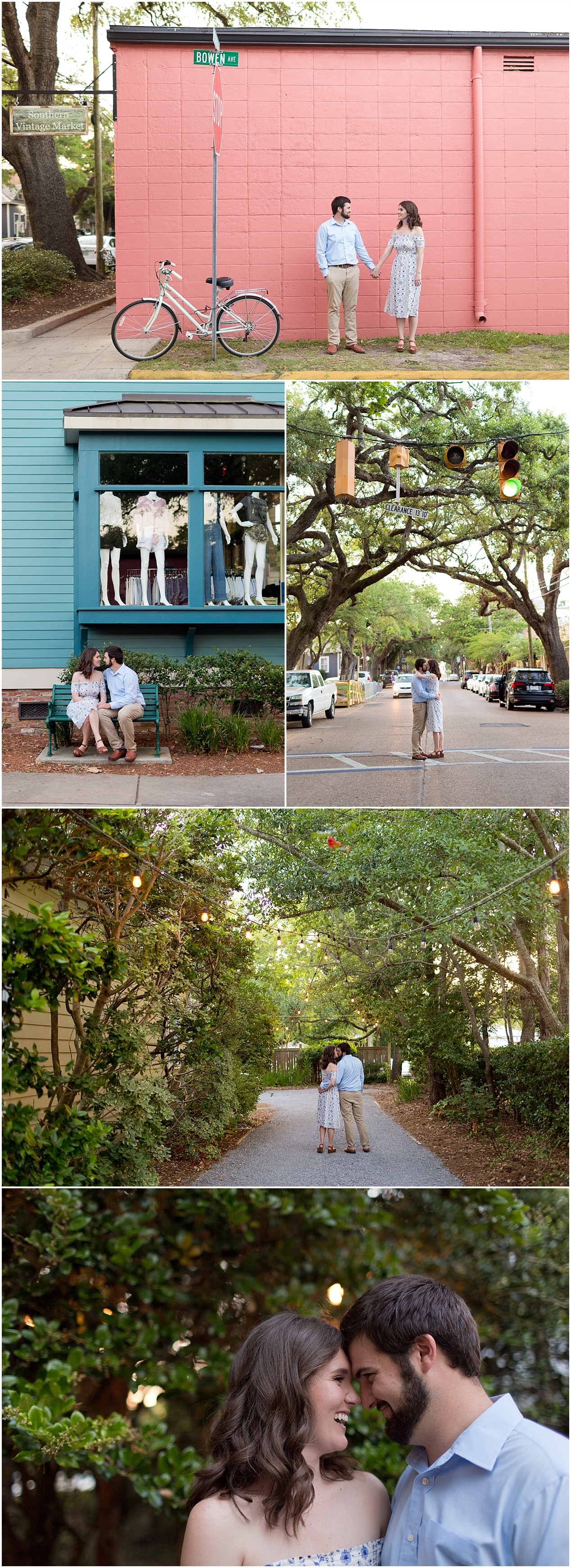 engagement photographs in downtown Ocean Springs, Mississippi