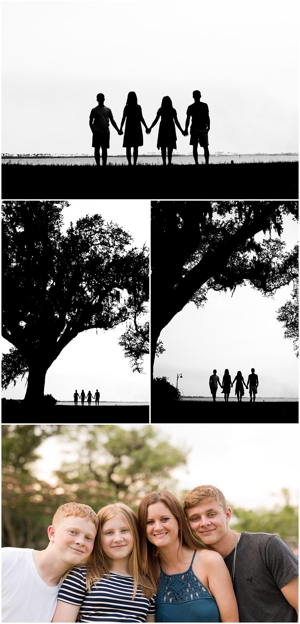 silhouette family photo - Ocean Springs family photographer