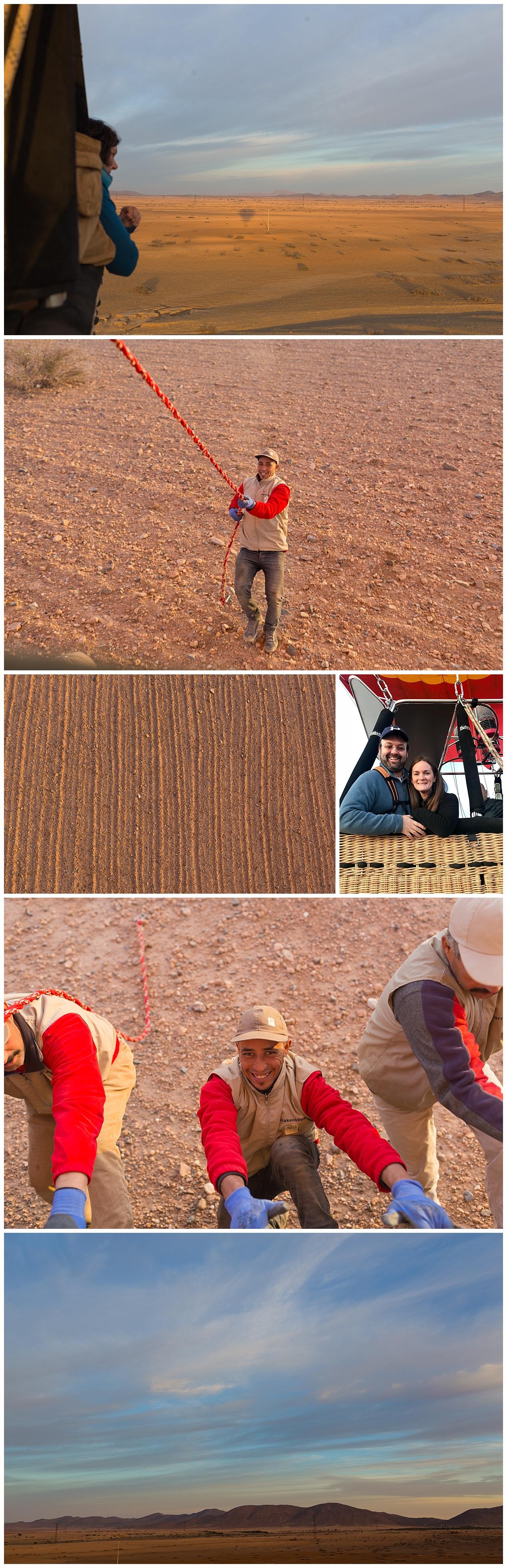 hot air balloon landing in the Sahara desert - Morocco tourism
