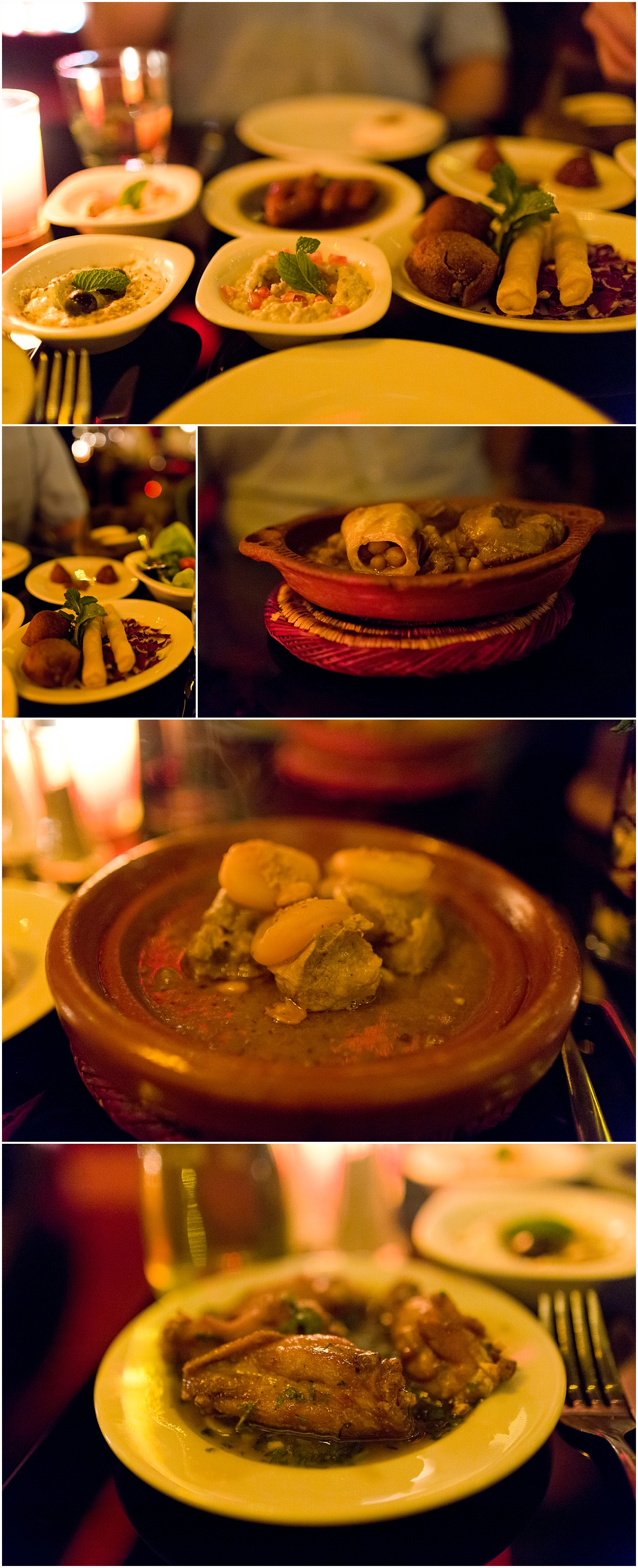 food at Azar restaurant in Marrakech, Morocco - mezze and tagines