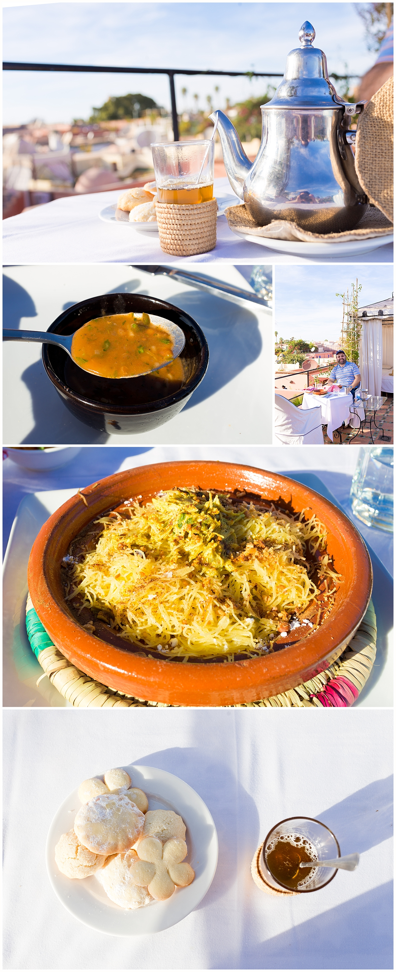 tea, soup, cookies, and chicken seffa lunch on rooftop at Riad Kaiss in Marrakech, Morocco