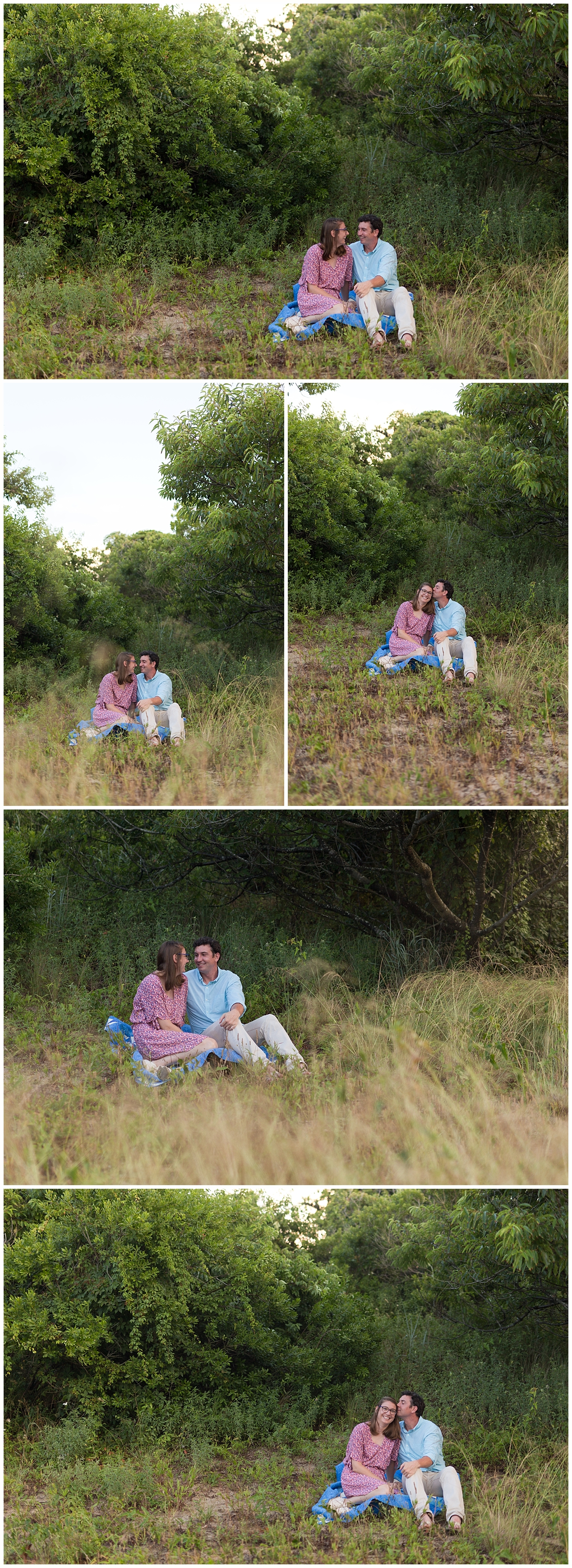 cozy engagement pictures with quilt, overgrown trees and weeds