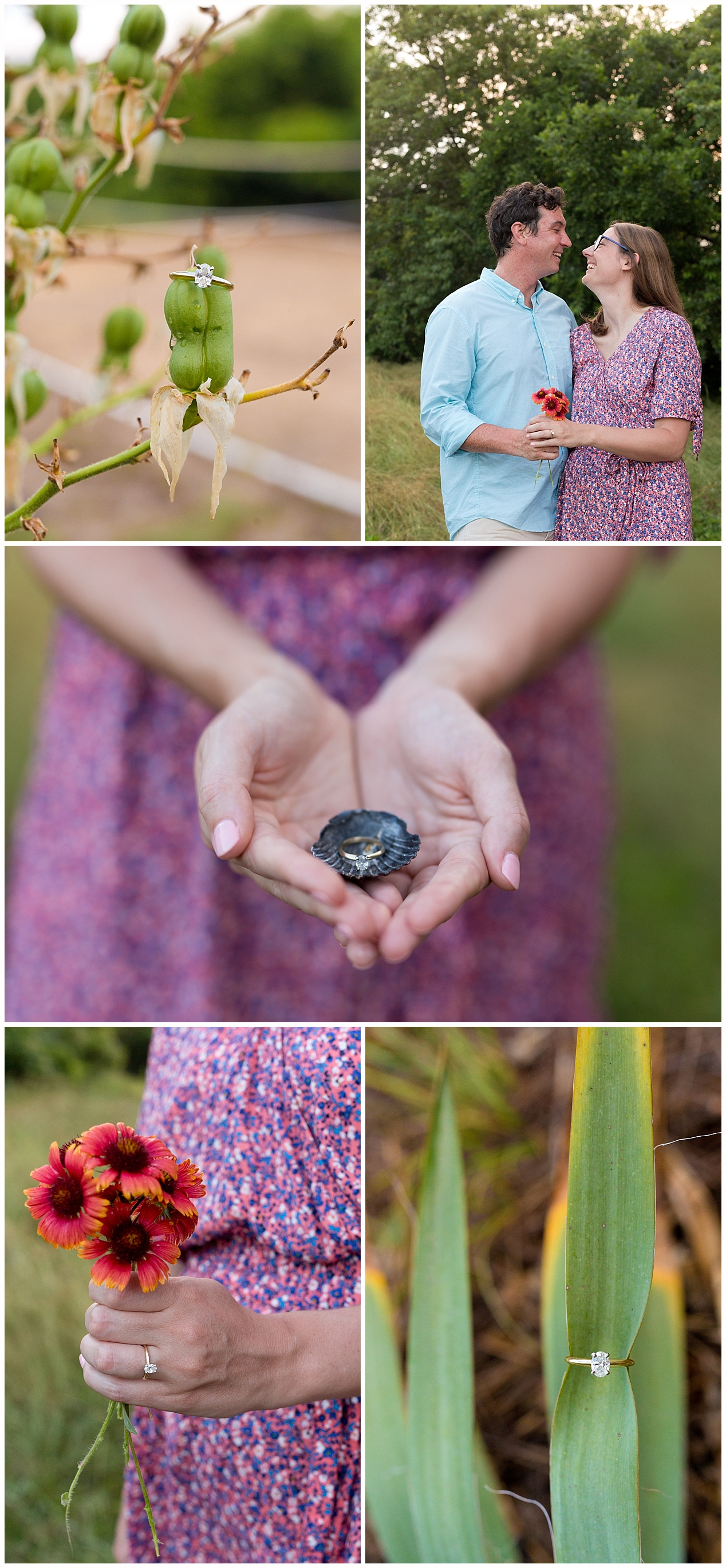 diamond engagement ring photos with seashell, wildflowers
