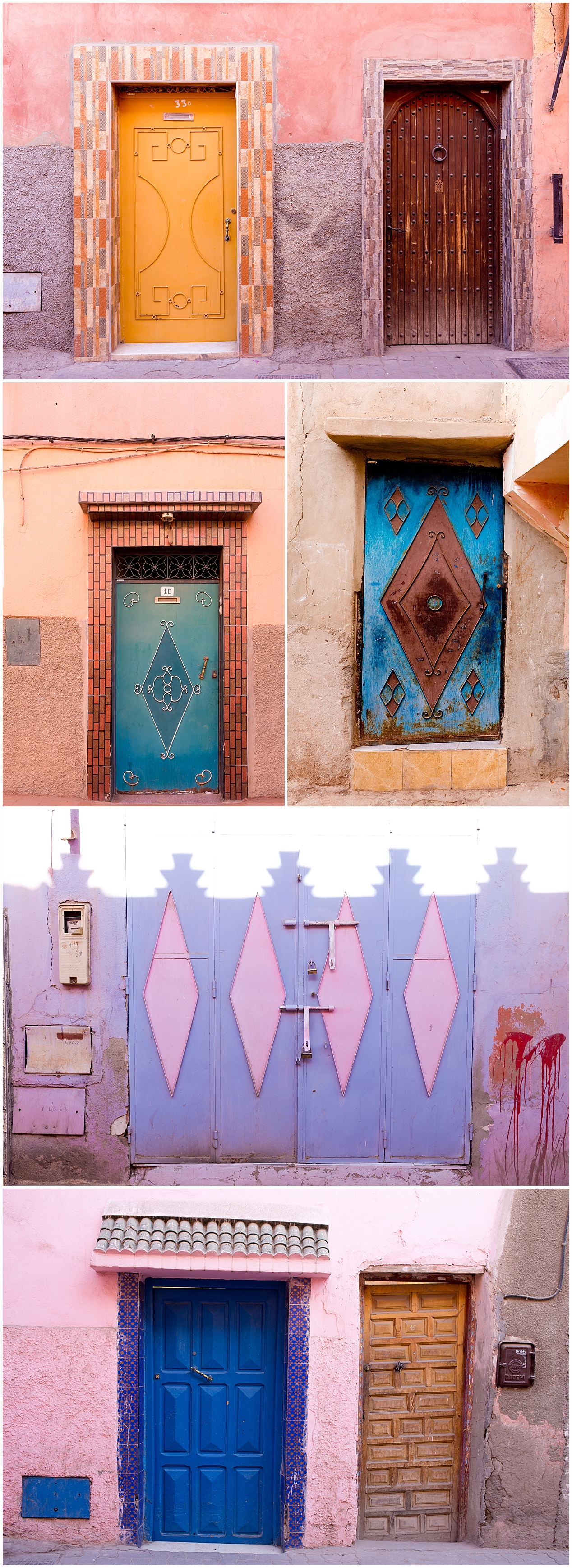 colorful doors in Marrakech, Morocco