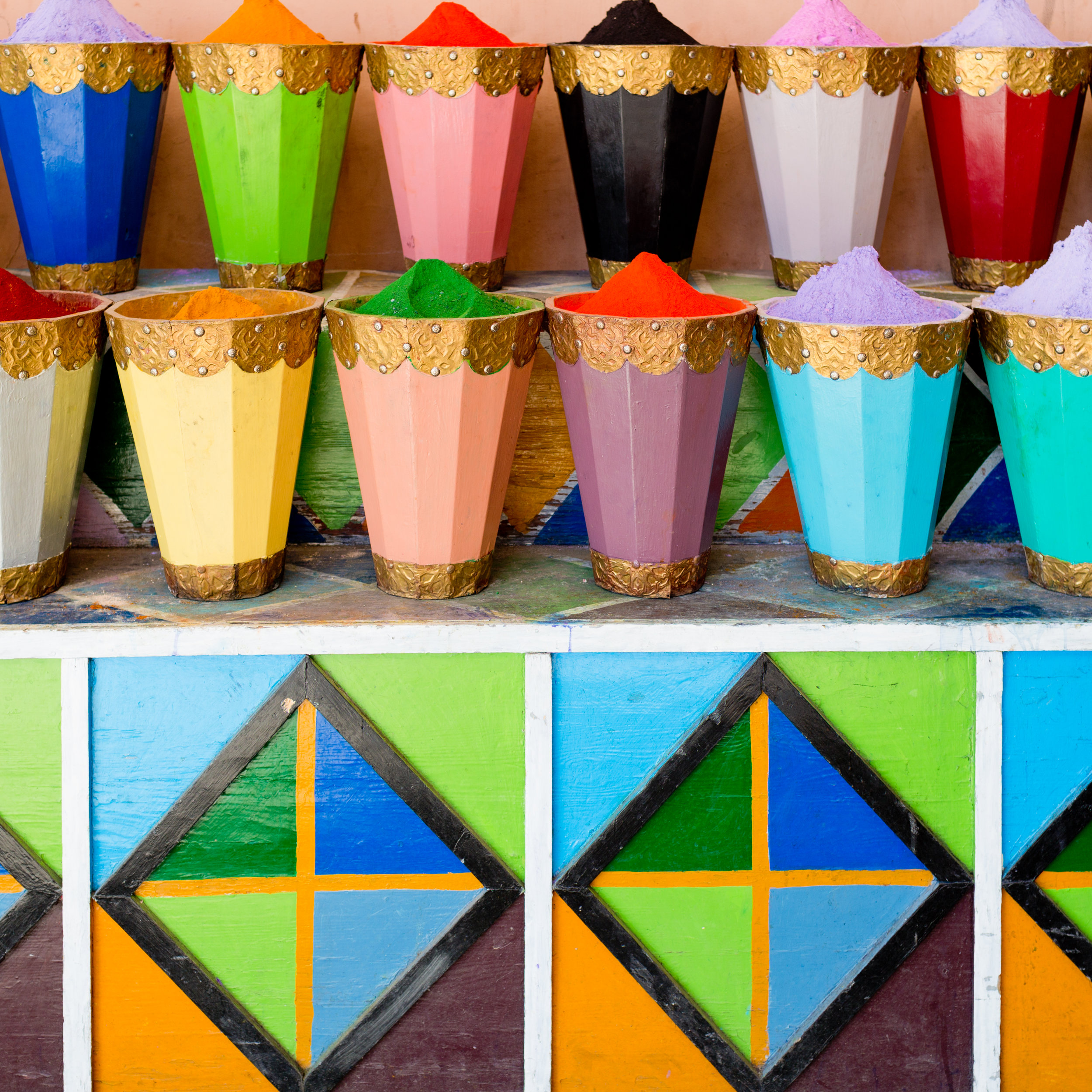 colorful photo of dyes in Morocco - print available on Etsy