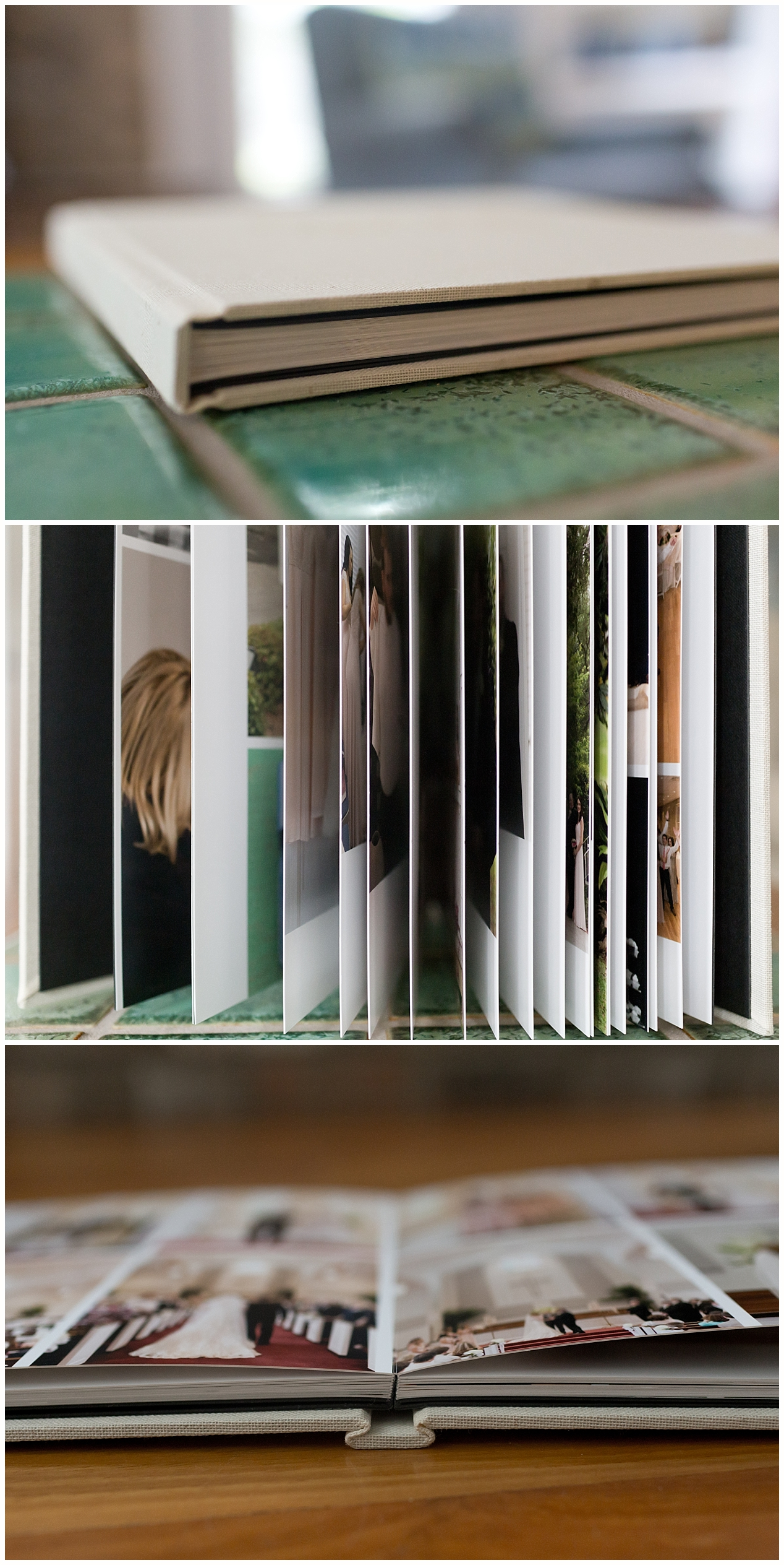 high-end layflat wedding album with linen cover - wedding photographer in Ocean Springs, MS