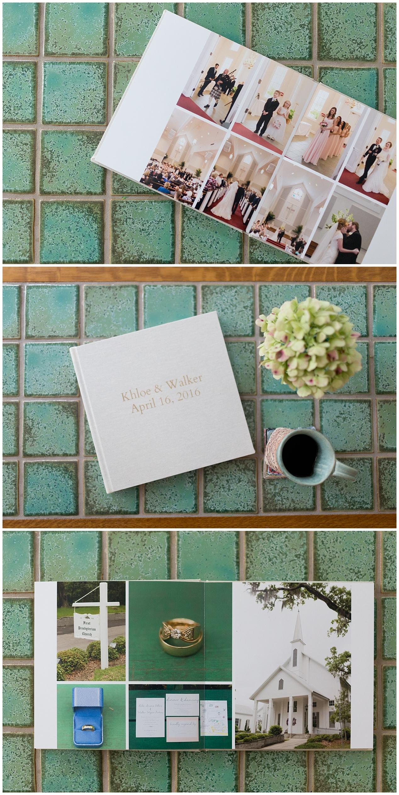 wedding photo album on coffee table - Ocean Springs wedding photography album