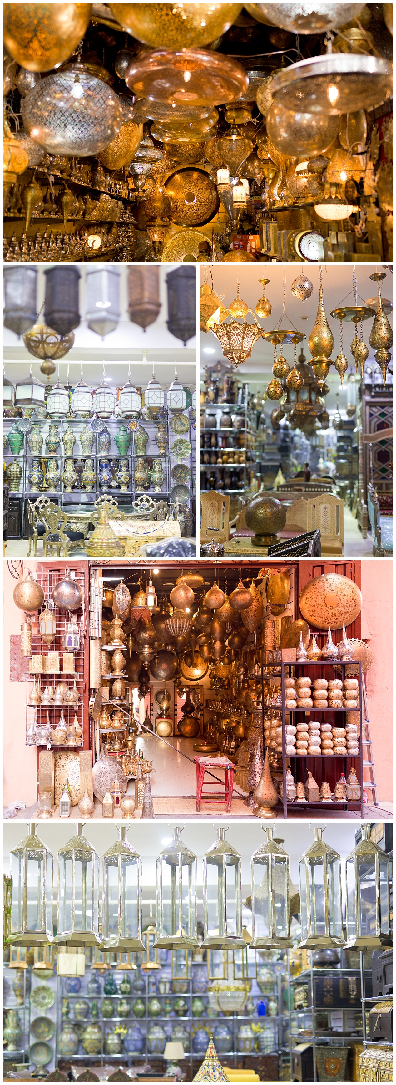 metal lanterns and lamps for sale in Marrakech, Morocco