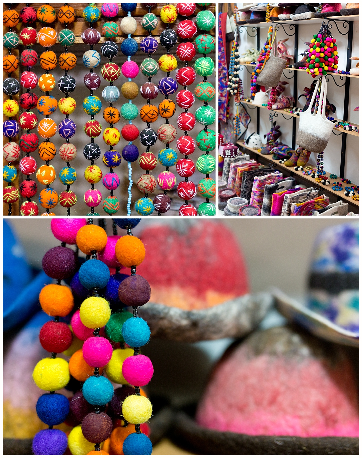 bright colorful lamb's wool jewelry in Morocco