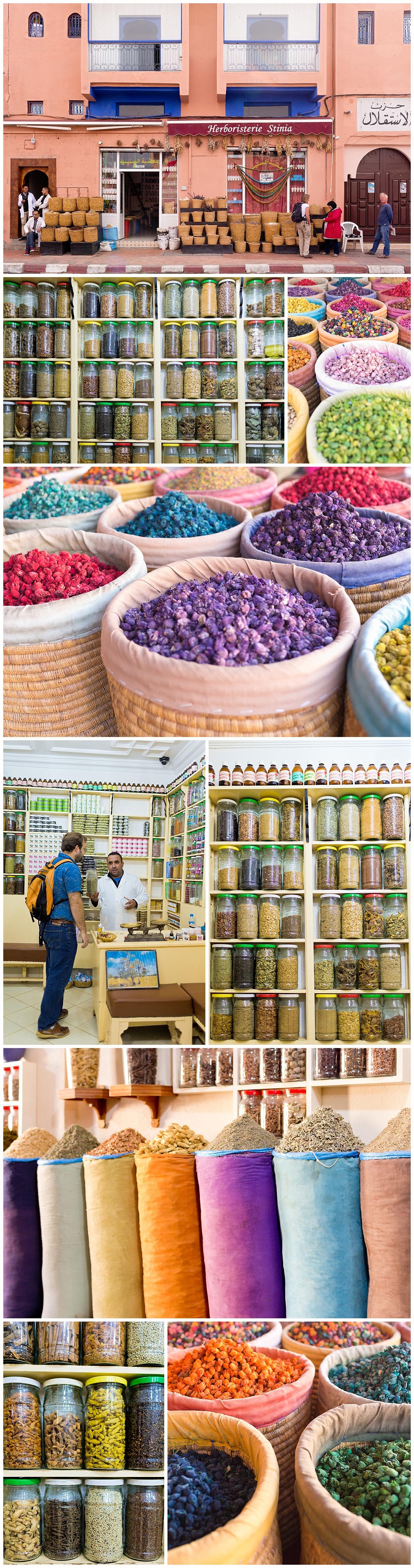 shopping for spices in Marrakech, Morocco medina