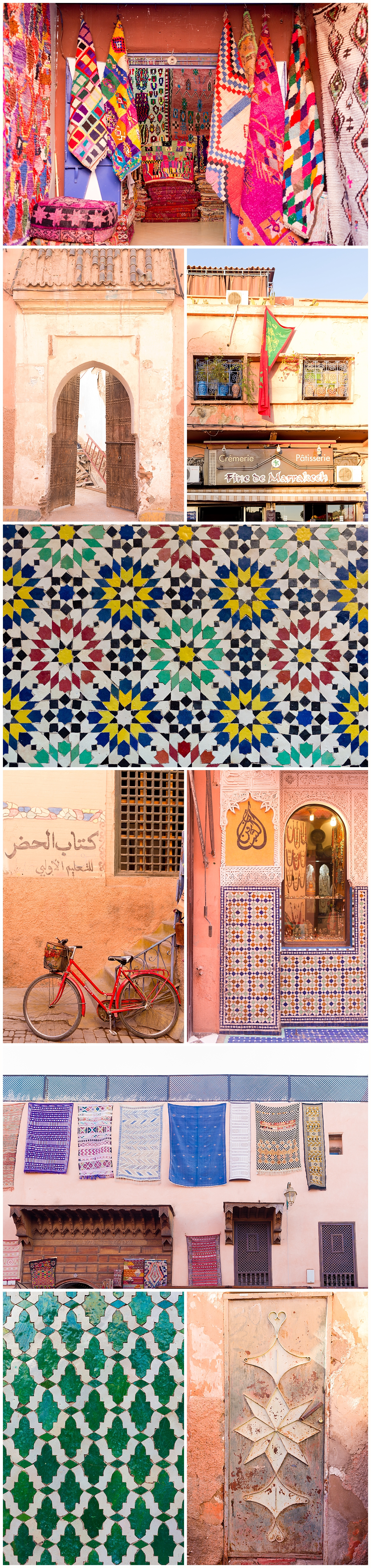 colorful architectural and artistic details in Marrakech, Morocco
