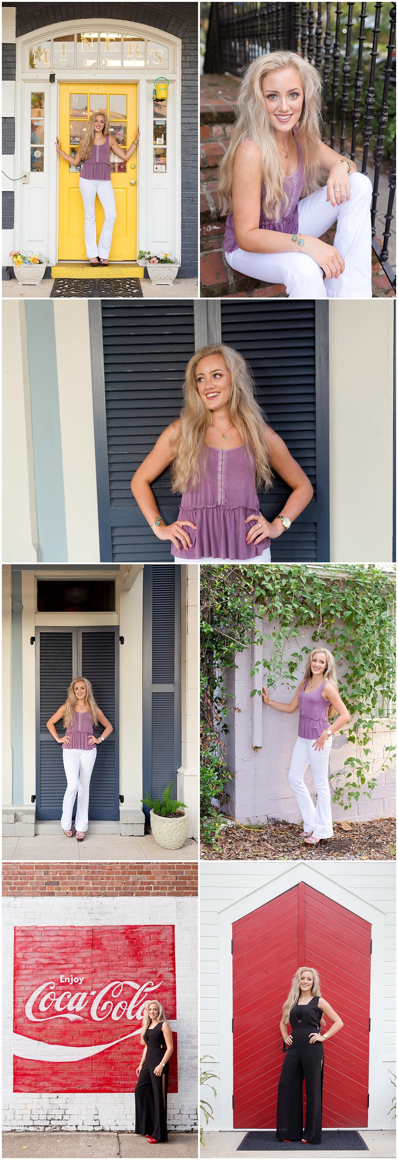 senior pictures in downtown Ocean Springs