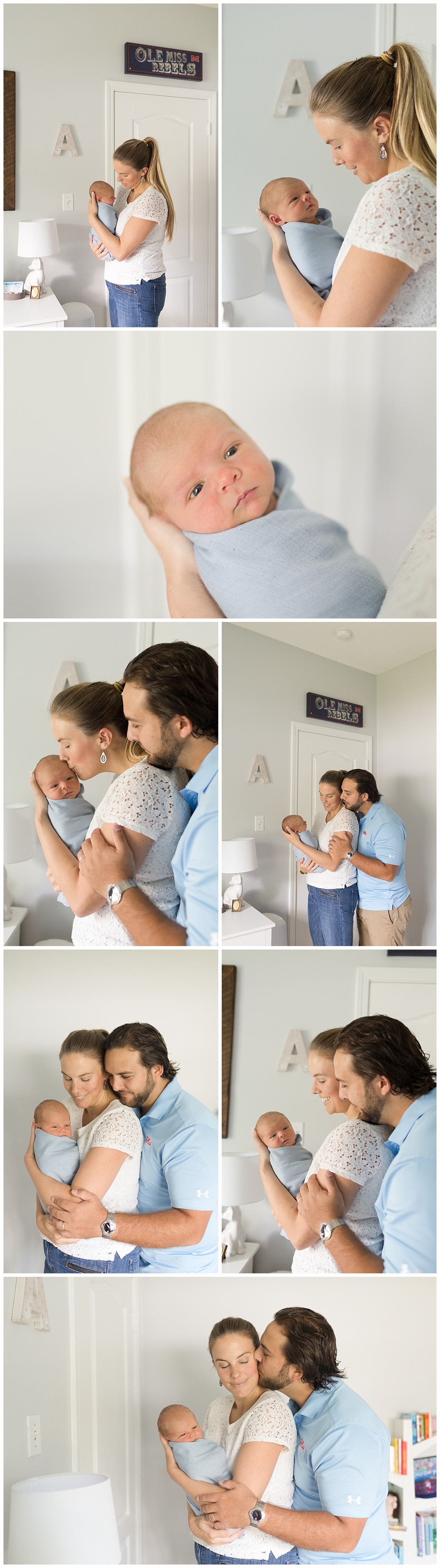 baby boy with parents in nursery - Ocean Springs baby photographer