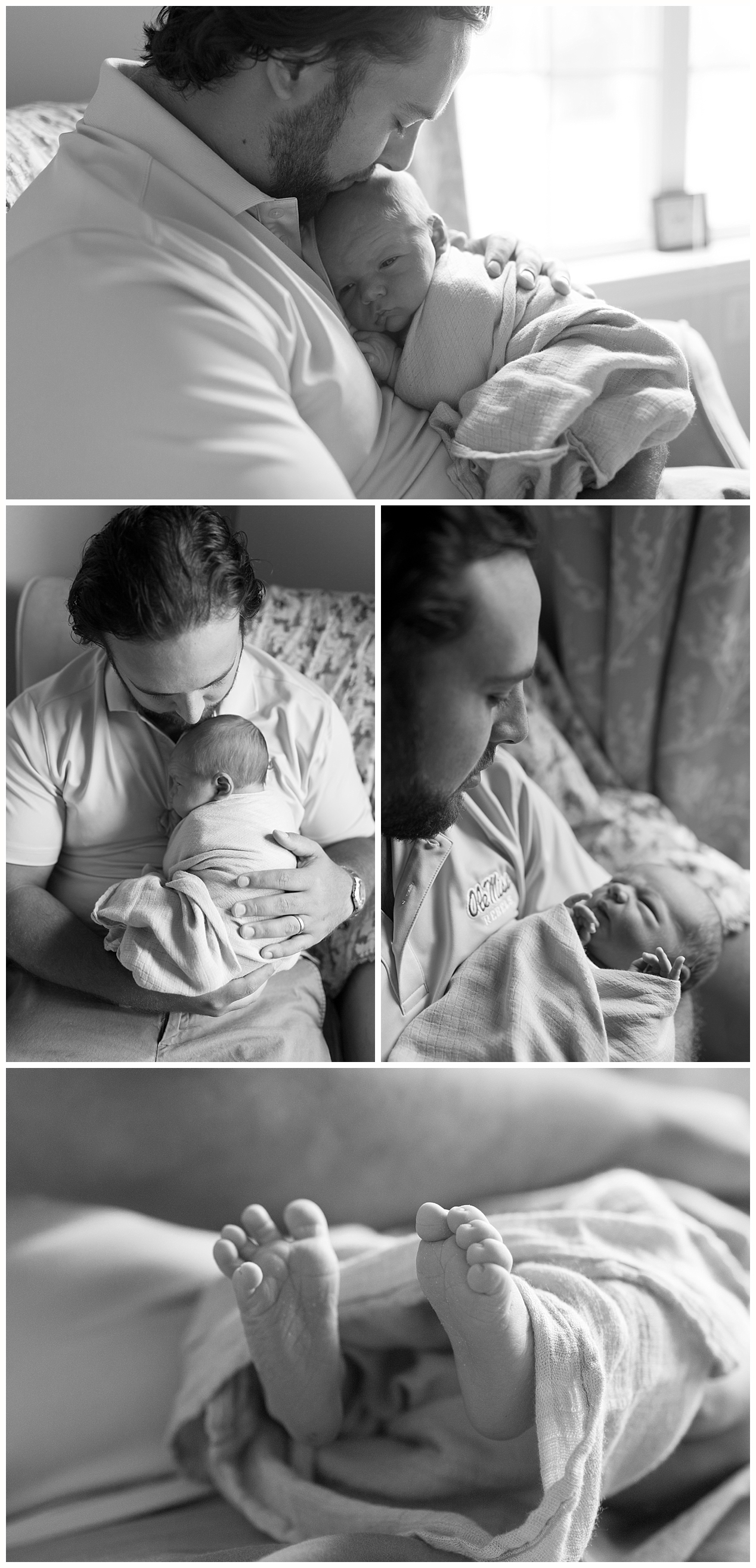 black and white photos of newborn baby boy with daddy - Ocean Springs photographer