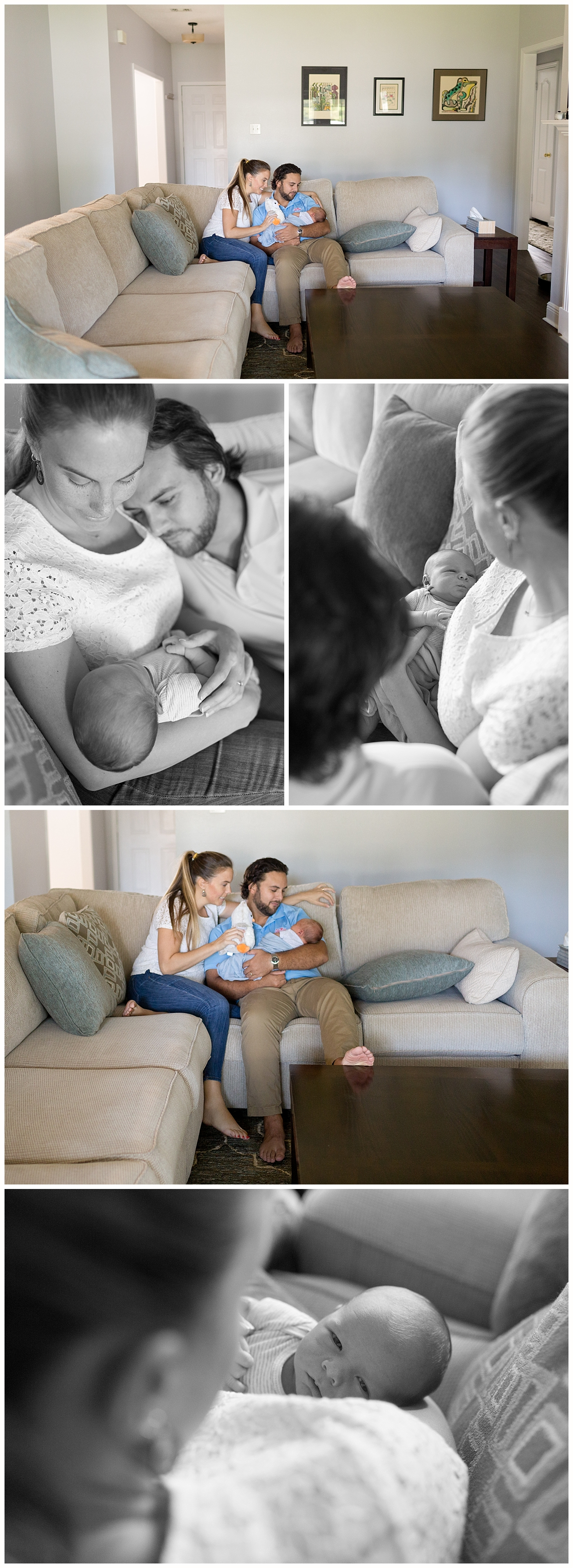 mom, dad, and newborn baby boy snuggling on couch - Ocean Springs, Mississippi newborn photographer