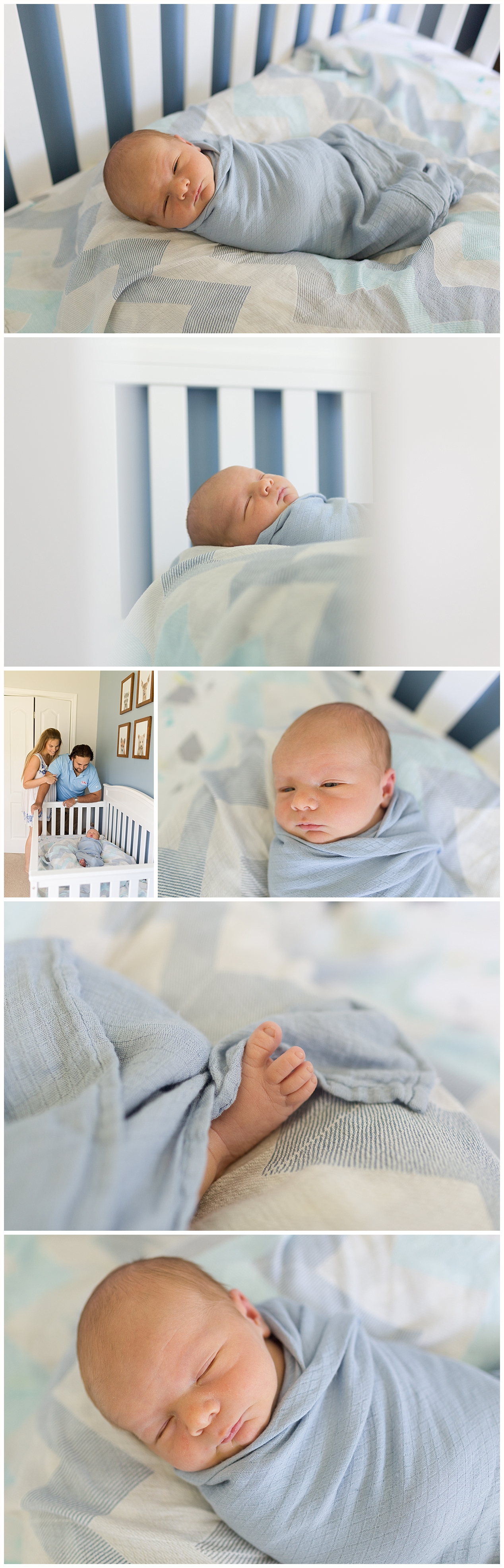 newborn baby boy swaddled and napping in crib - Ocean Springs newborn photographer